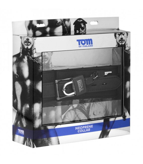 Tom of Finland Collar BDSM de neopreno con candado para sumisos
