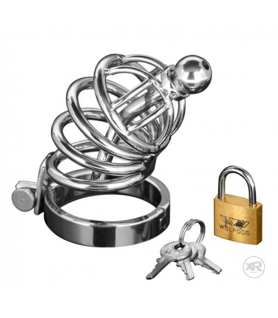 XR Jaula de Castidad de acero con sonda uretral Mastersex