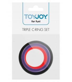 Triple Anillos para el Pene Multicolor Toy Joy