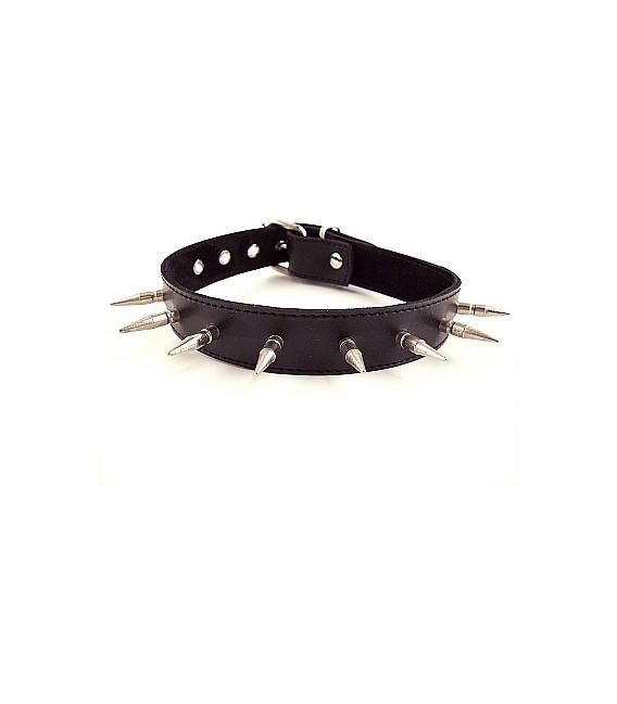 Collar Puppy de cuero para sumiso con pinchos de Rouge Mastersex