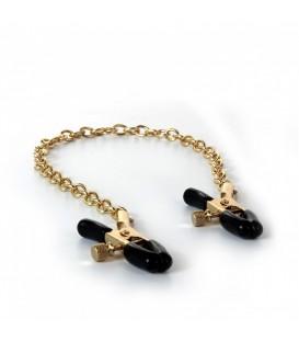 Pinzas ajustables para pezones con cadena color oro