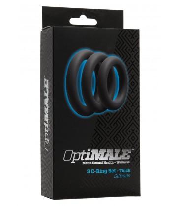 Optimale C-ring 3 anillos gruesos para el pene de silicona negro gris
