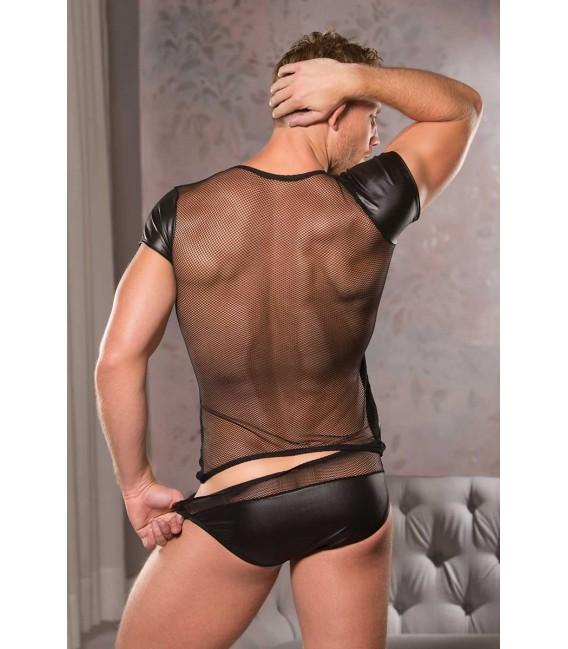 Camiseta efecto mojado fetish sexy manga corta hombre color negro transparencias