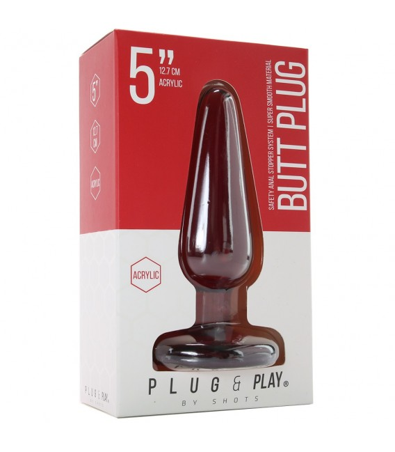 Butt and play plug anal de acrílico rojo