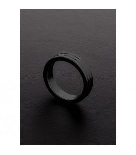 Triune Black Ribbed Cockr Ring de acero negro Mastersex