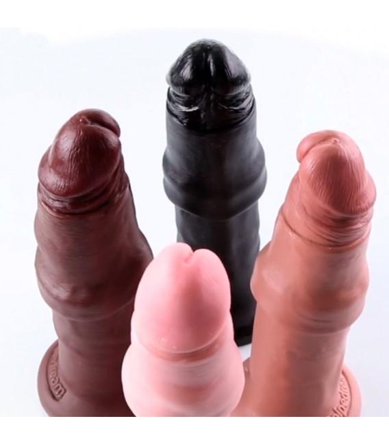 King Cock UNCUT Dildo con prepucio deslizante 16.5 cm
