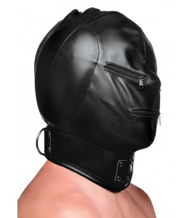 Hood Mask Capucha BDSM con posture collar y cremallera de cuero negro