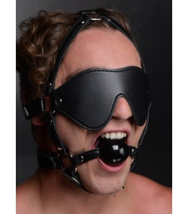 Fetish face kit antifaz de cuero con mordaza Strict Leather