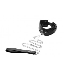 Posture Collar con correa para sumisos de cuero sintetico Strict Leather
