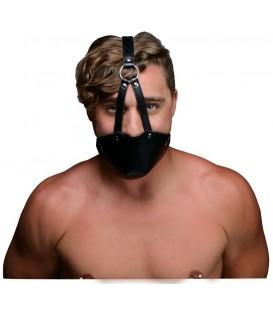 Arnés tipo Bozal BDSM de cuero con mordaza de bola de silicona Strict Leather