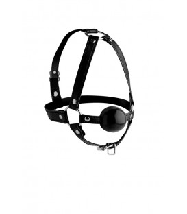 Arnés para la cabeza de cuero con mordaza de silicona Strict Leather