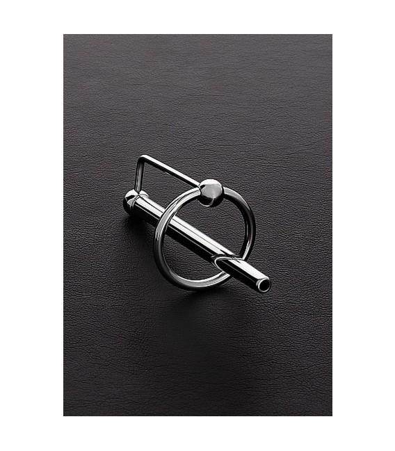 Long Princess anillo para el glande de acero con sonda uretral 60mm