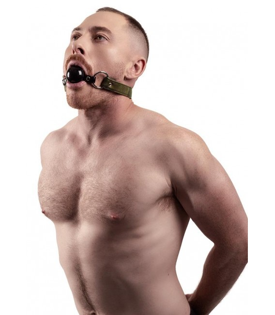 Mordaza BDSM de cuero vegano y camuflaje con bola de silicona