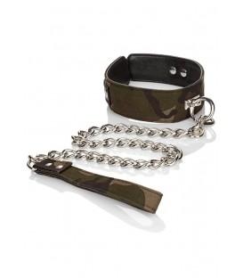Collar para sumisos BDSM de camuflaje con cadena de Colt