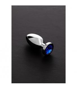 Jewelled joya anal pequeña de acero con piedra preciosa negra