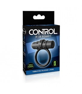 Control anillo para el pene vibrador de silicona negro