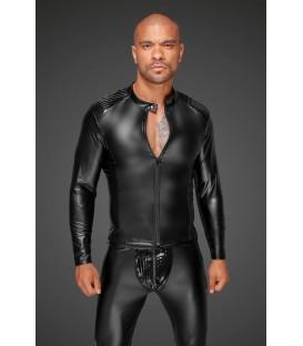 Cazadora Masculina Fetish de vinilo negro Efecto Mojado PVC