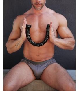 Hosed Swirl dildo anal gigante en espiral con ventosa 47 cm negro