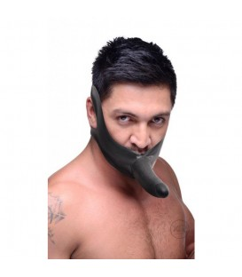 Face Fuk Mordaza de látex con Dildo 14 cms negro