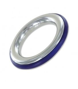 Cockring de acero y silicona azul ze cazzo