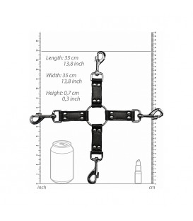 Ouch Cruz de Ataduras bondage 4 vías de cuero y metal
