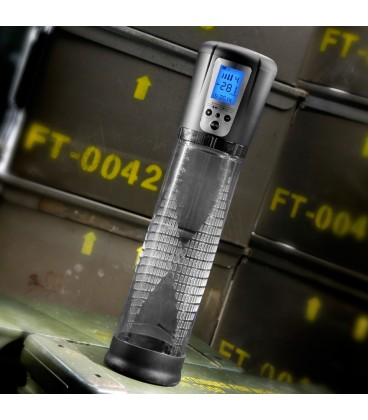 Shots Toys Bomba de pene automática transparente con pantalla LCD