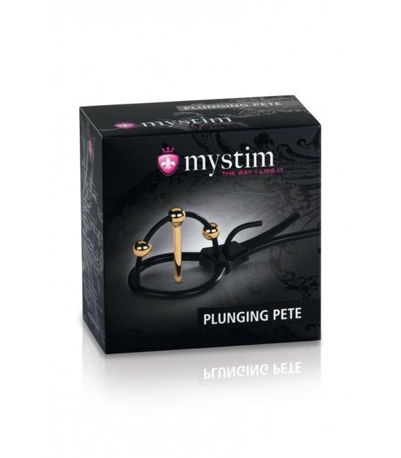 Plunging Pete Anillo de Glande con Plug E-stim Mystim