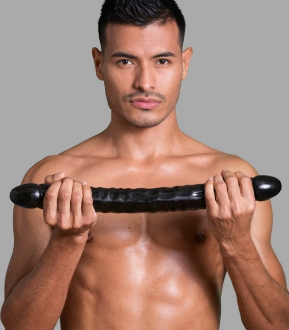 Pene doble con venas negro 45cm Doc Johnson