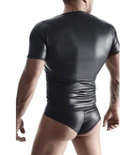 RFP Wetlook Camiseta Fetish Negro Cuello Pico efecto cuero