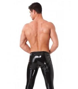 Pantalones largos de látex negro